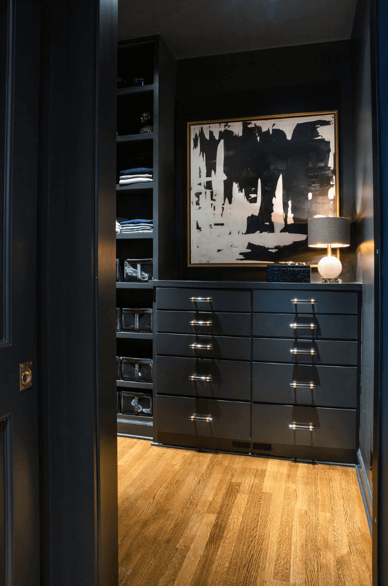 Dark-colored master closet