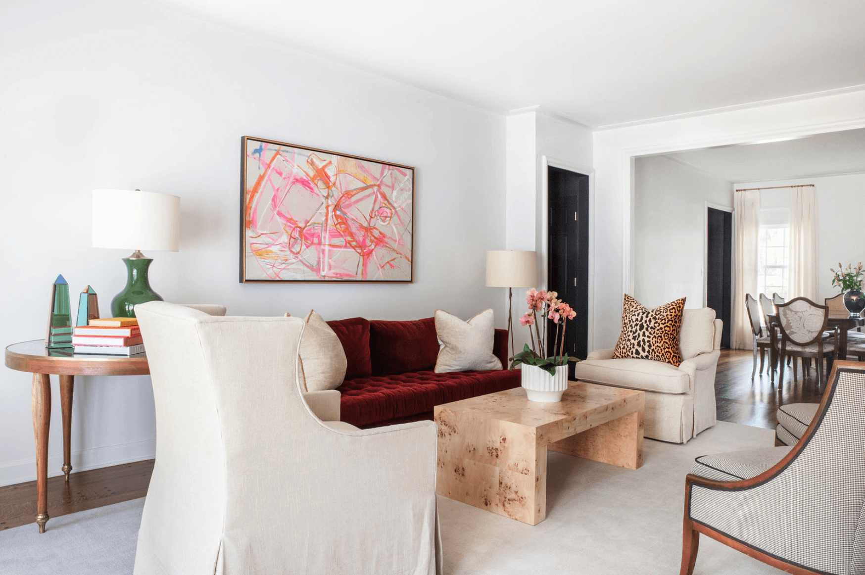 Colorful living room in East Memphis home