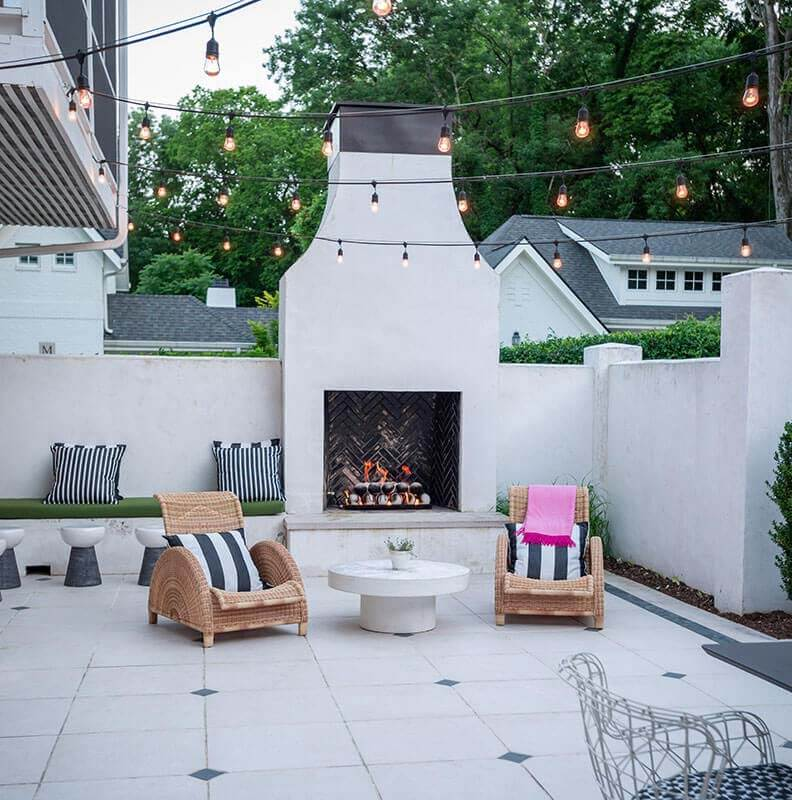 Daytime view of outdoor fireplace