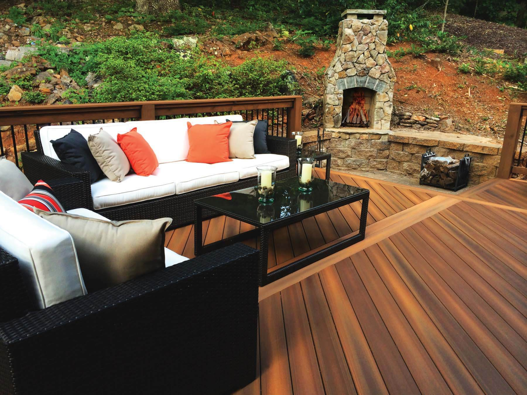 Custom outdoor fireplace by Outback Deck