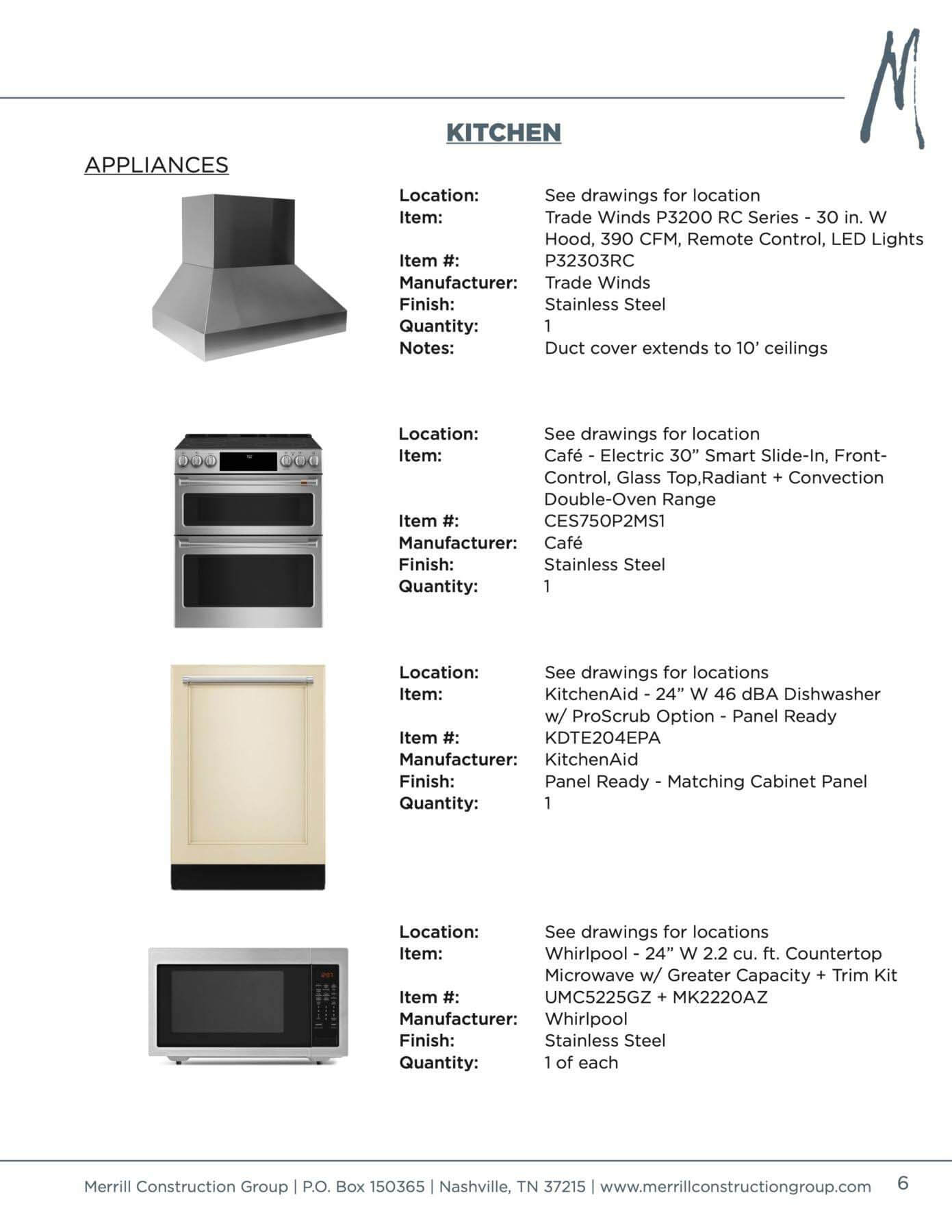 Selection sheet for products for the kitchen renovation