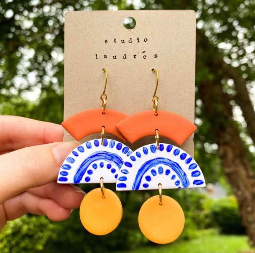 North Carolina jewelry designers: The Leena Colorful Earrings from Studio Laudres