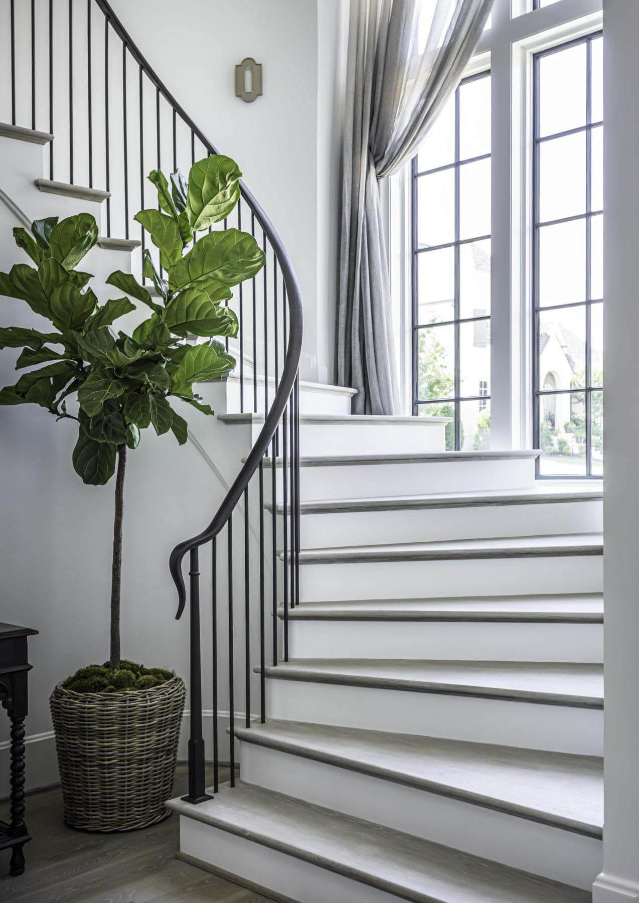 Stairwell to second floor at Alan and Heather Looney's home