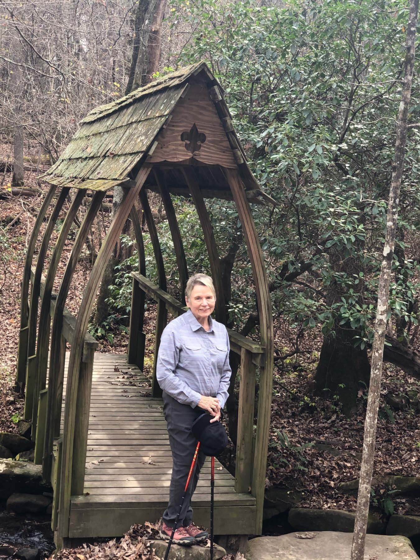 Gayle Ray, hiking outdoors