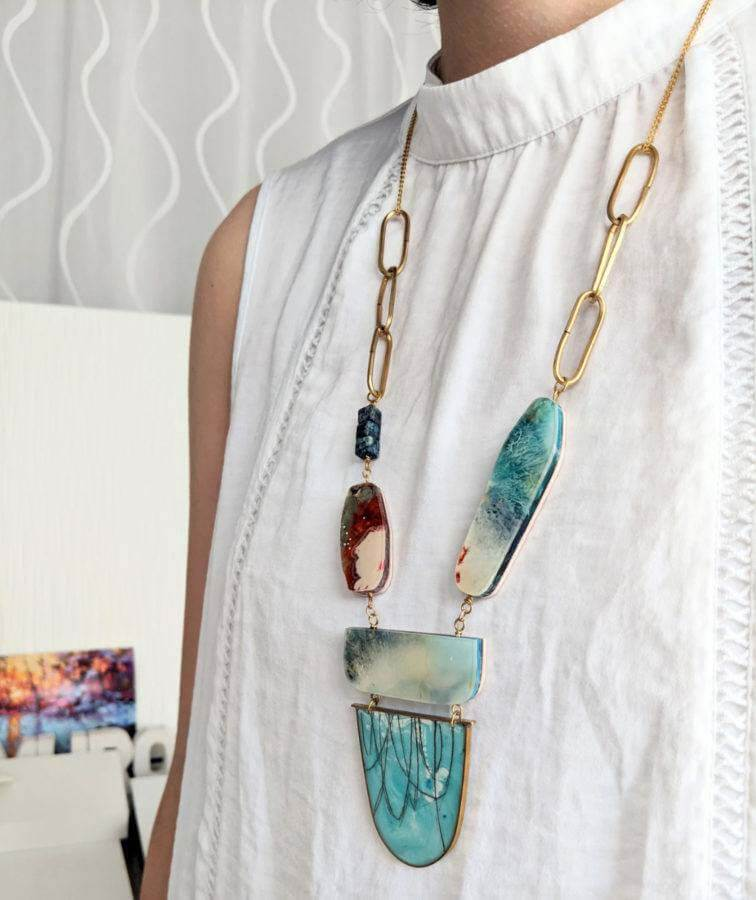 The Adventurer statement necklace by Rosa Murillo at Muro, a North Carolina jewelry designer
