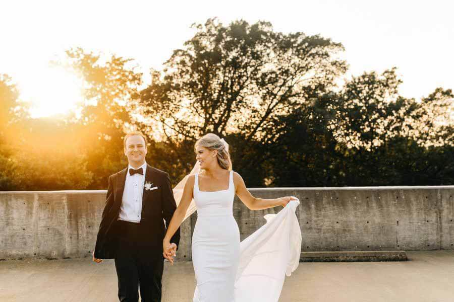 Chris Levy of Oak Hall and Haley Young at sunset on wedding day