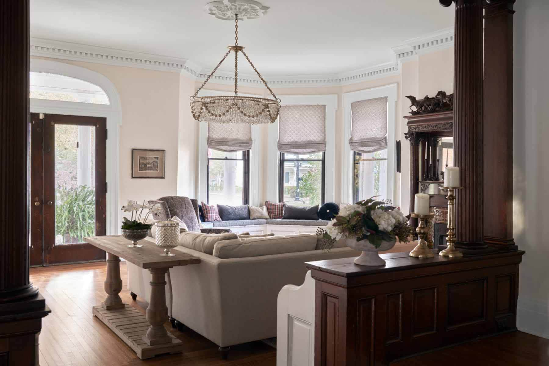 Front room at Victorian home with interior design by Marcelle Guilbeau