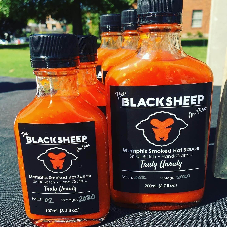 Bottles of Black Sheep hot sauce