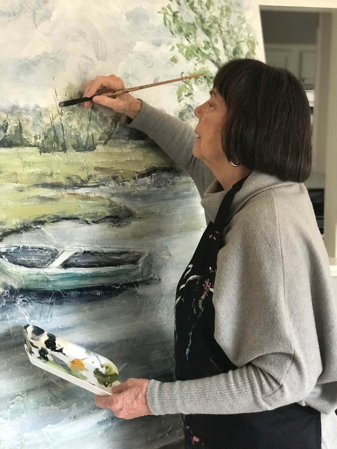 Jane painting a nature piece