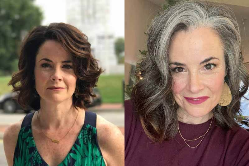 Side-by-side photos of Kelly O'Doherty's grombre journey