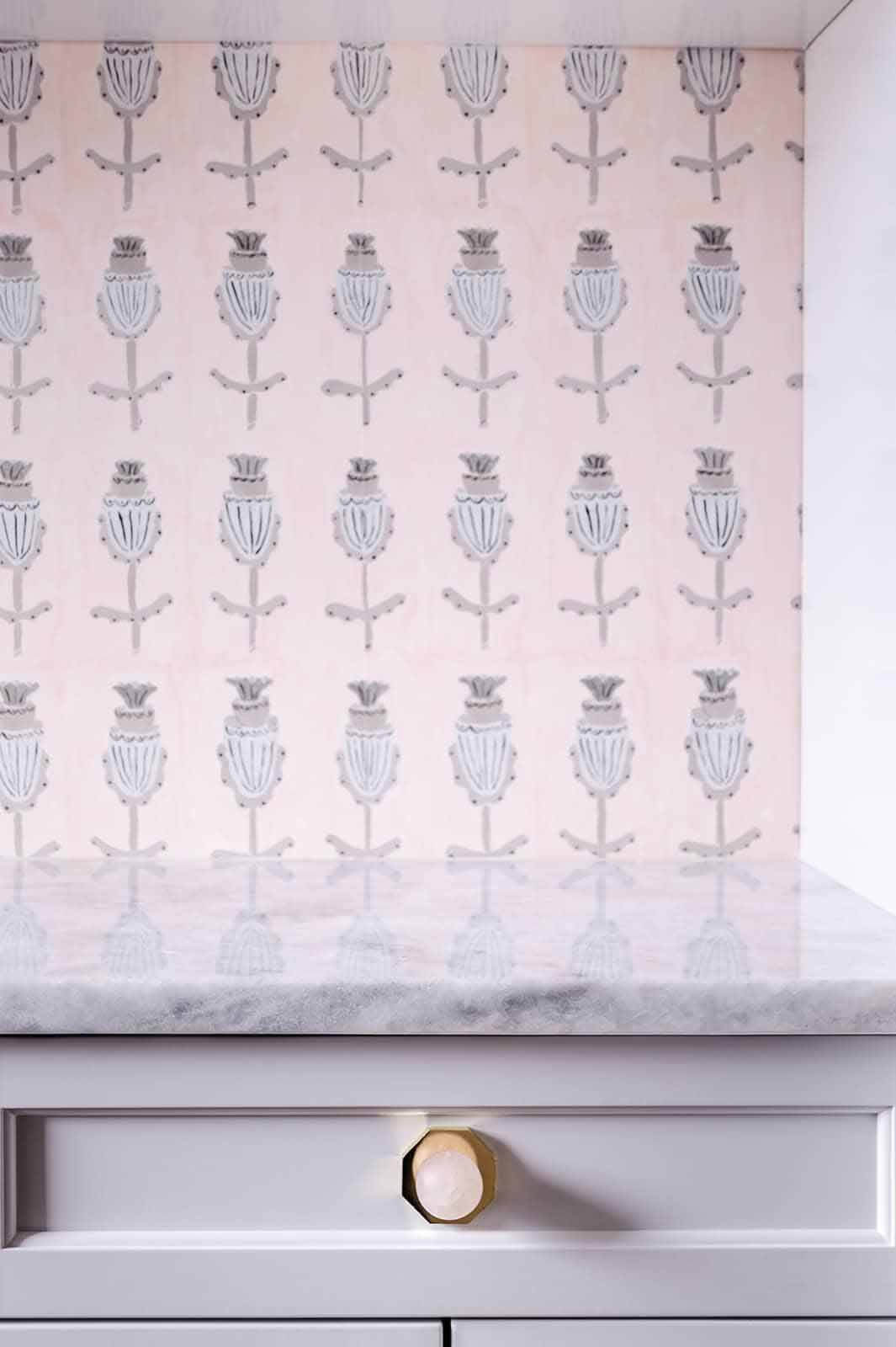 Close-up of pink wallpaper by wallpaper by Wayne Pate + StudioFour NYC