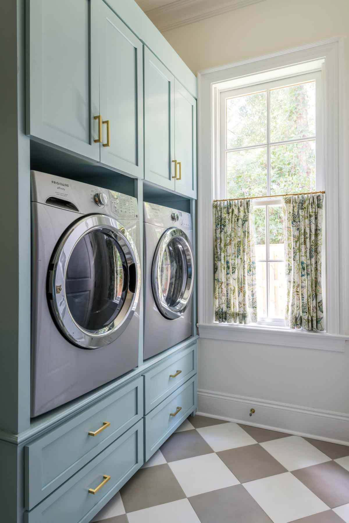 Washing machines and teal cabinets