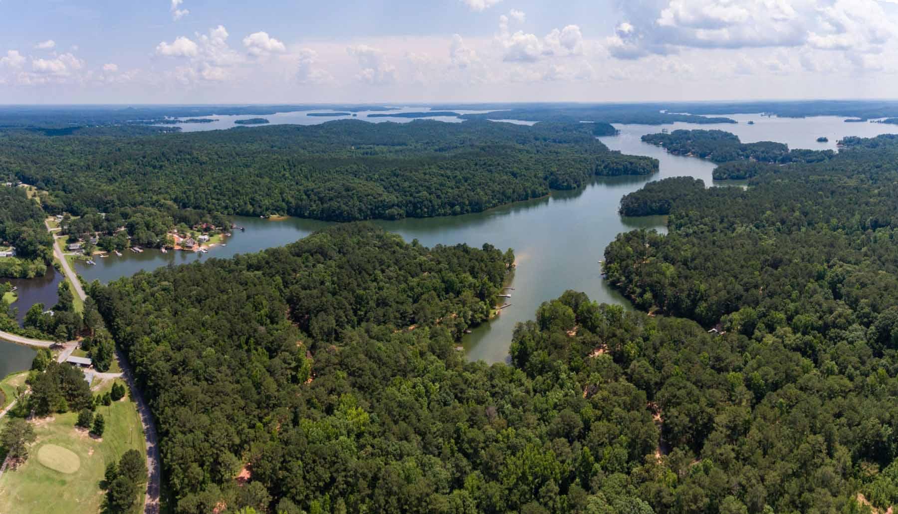 Aerial view of Lake Martin and White Oak Landing
