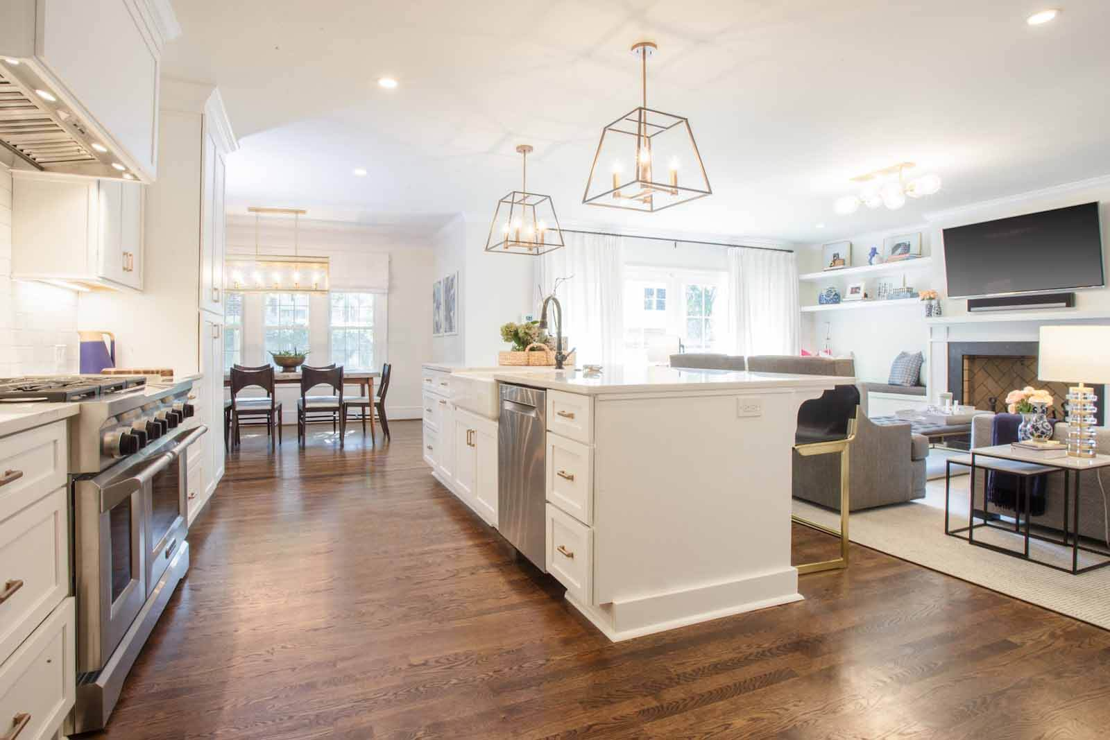 Open concept kitchen, living area and dining room