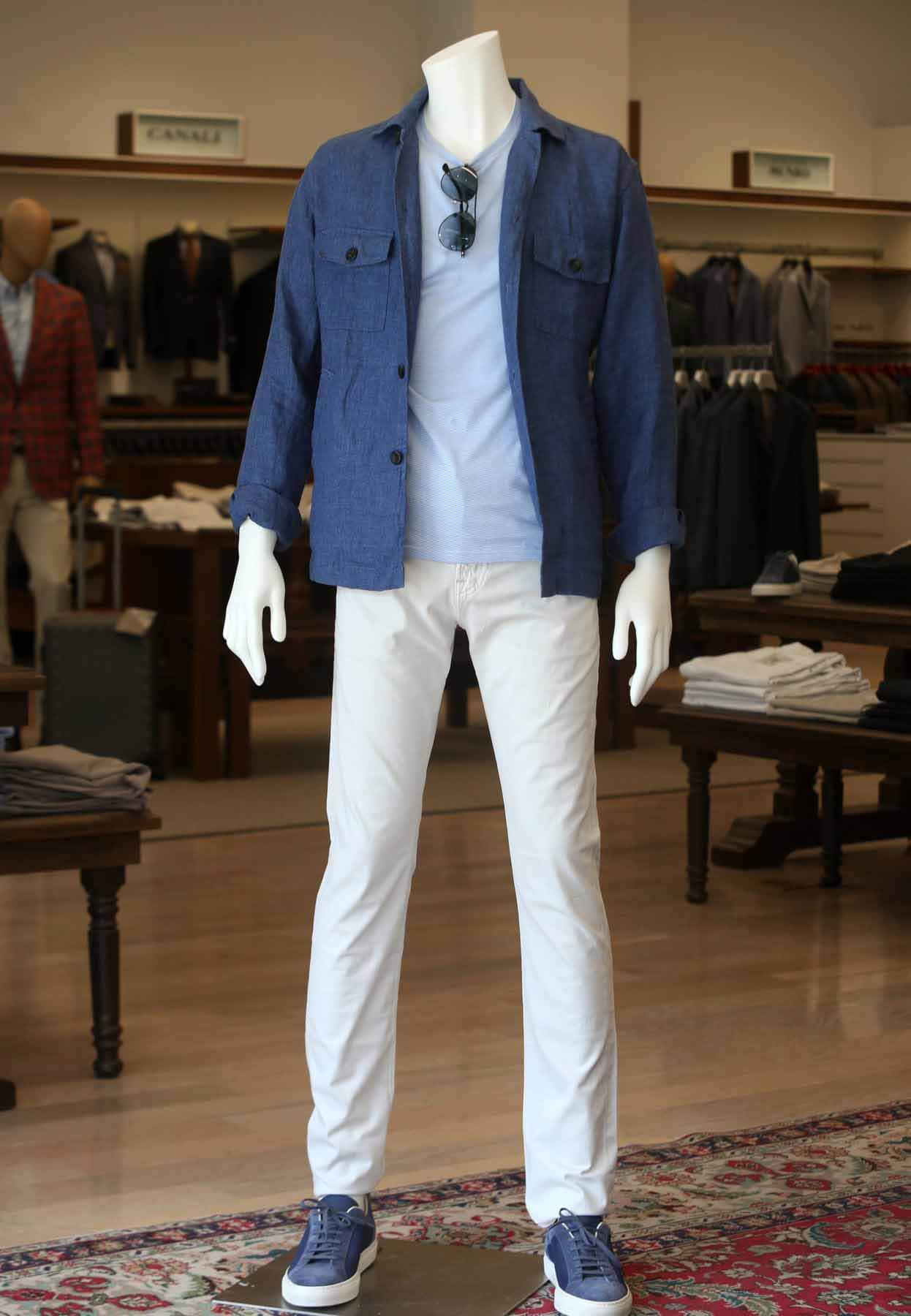 Male mannequin wearing a shirt jacket and t-shirt from Oak Hall