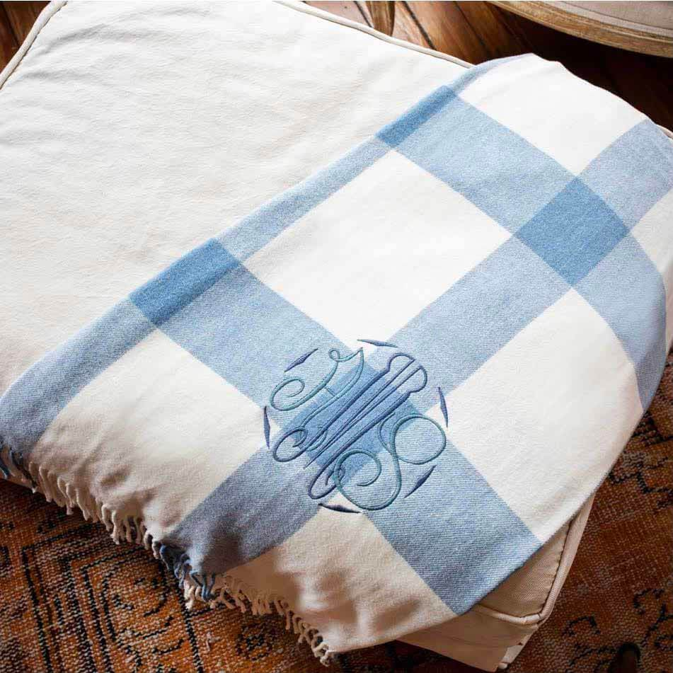 Monogrammed blue and white buffalo check throw