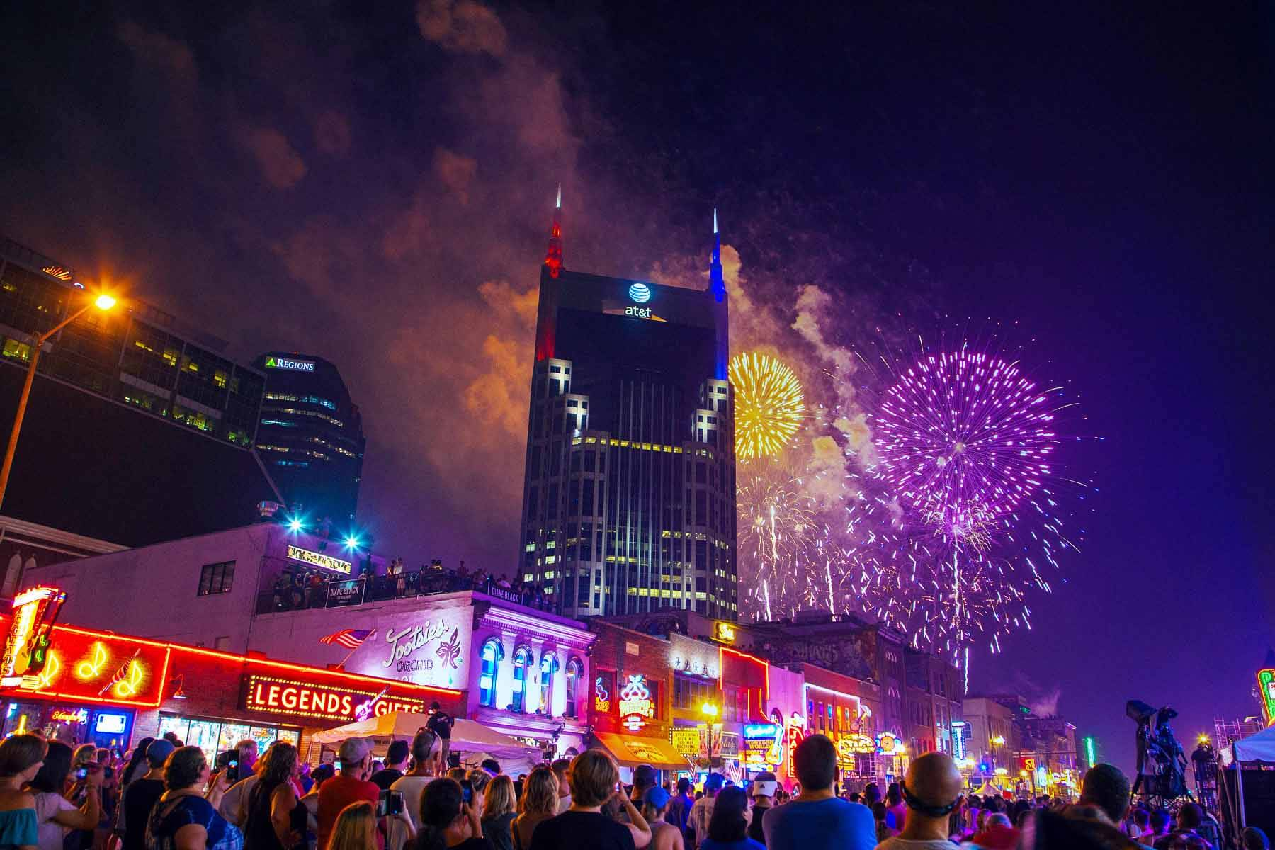 Fireworks display in downtown Nashville at annual Let Freedom Sing! event