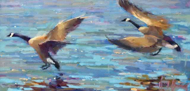 Kim Barrick painting of wild geese