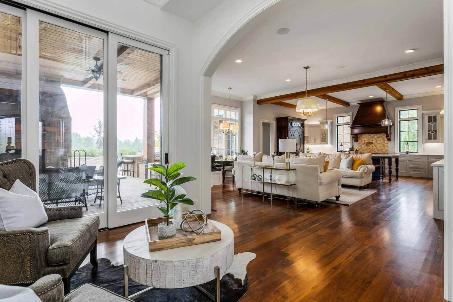 Open concept living room and kitchen in Tennessee home