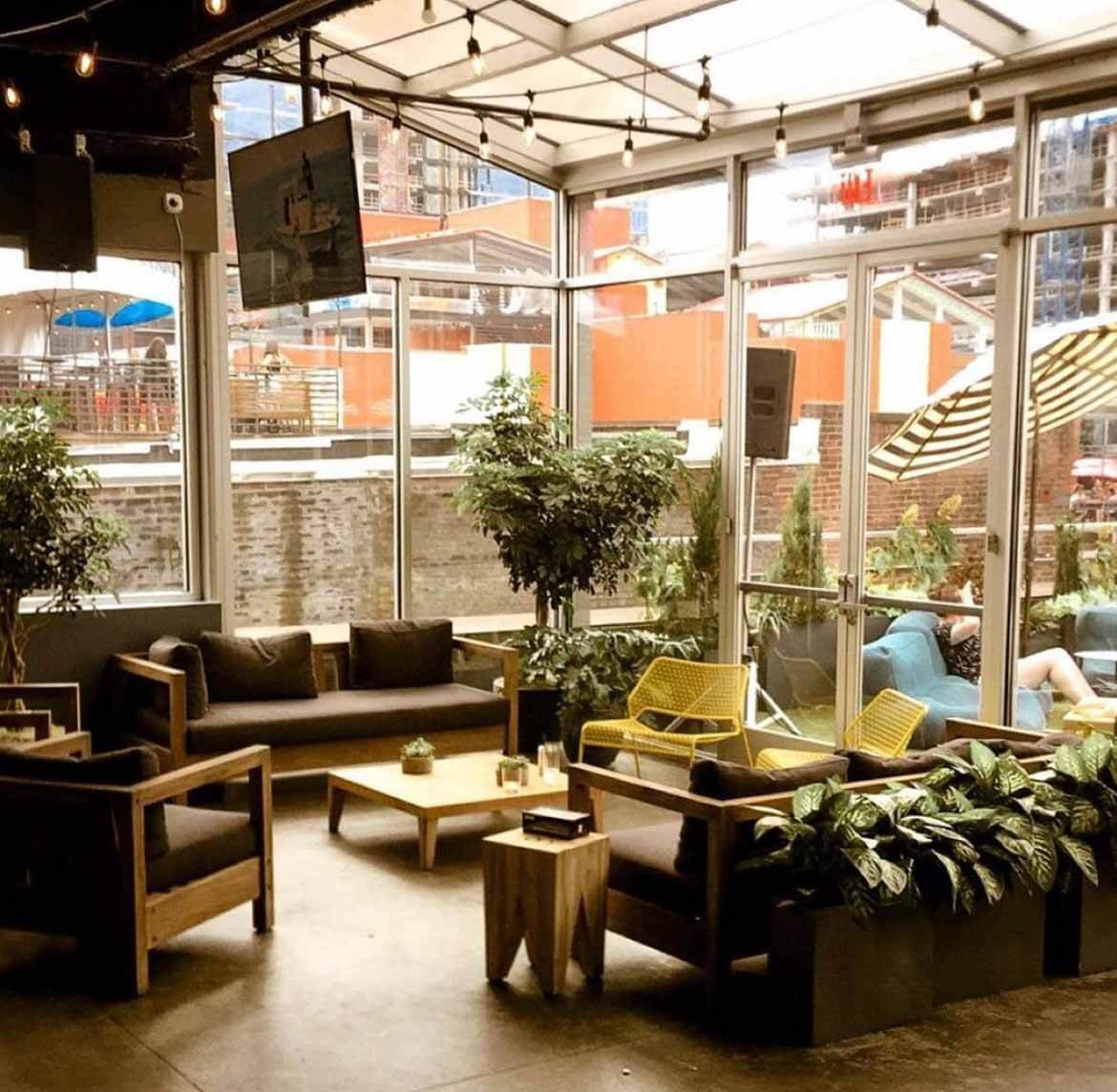 Bar at Downtown Sporting Club, one of the best rooftop bars on Broadway