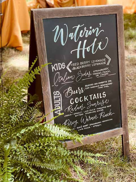 """""""Waterin' Hole"""" chalkboard sign for cocktails and mocktails"""