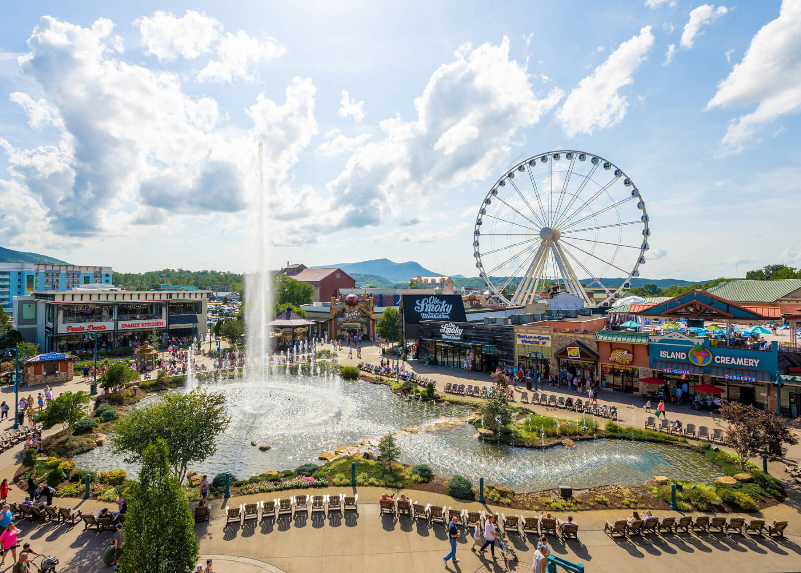 Aerial view of Island in Pigeon Forge