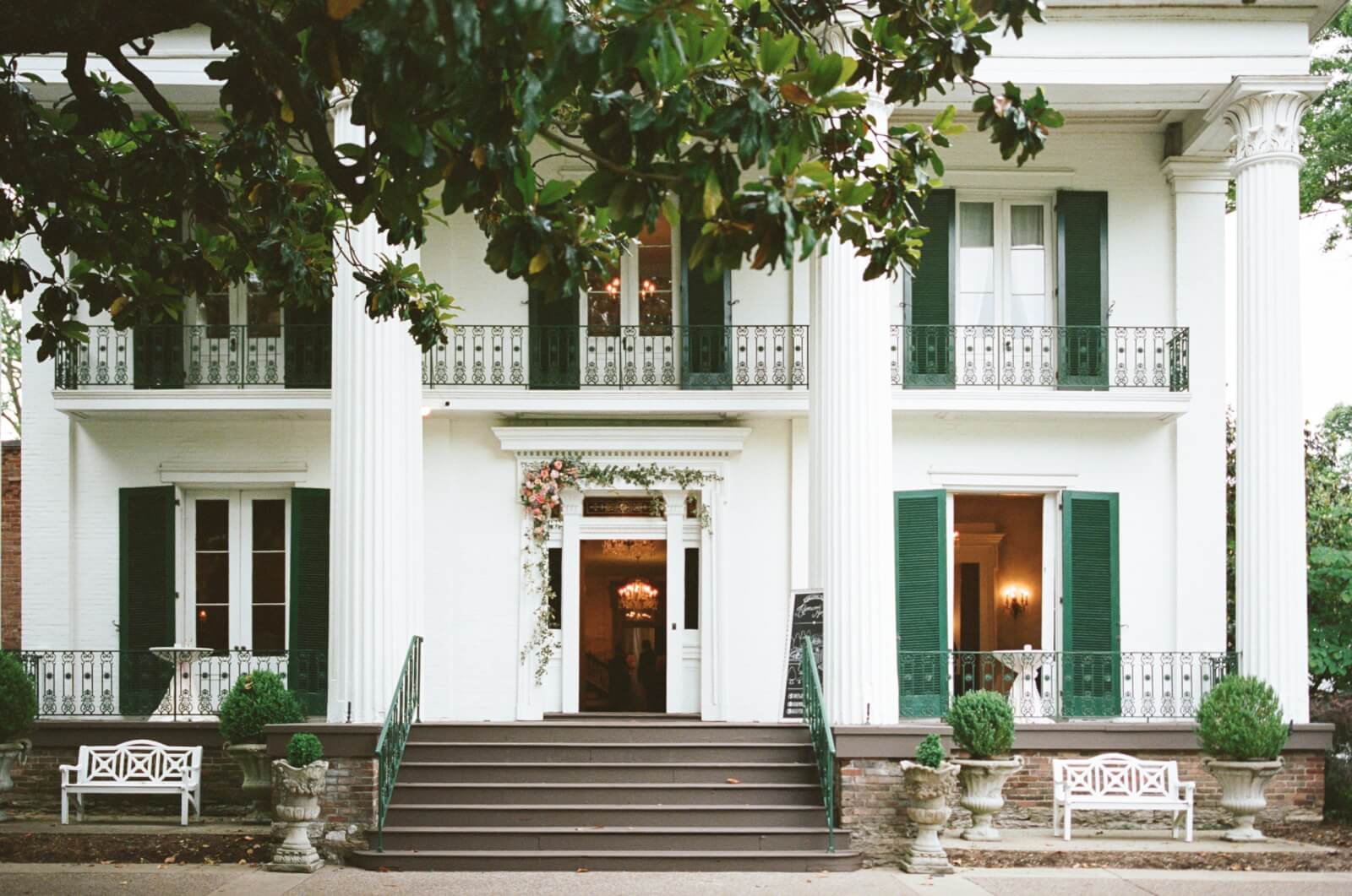 Exterior front of the historic Riverwood Mansion