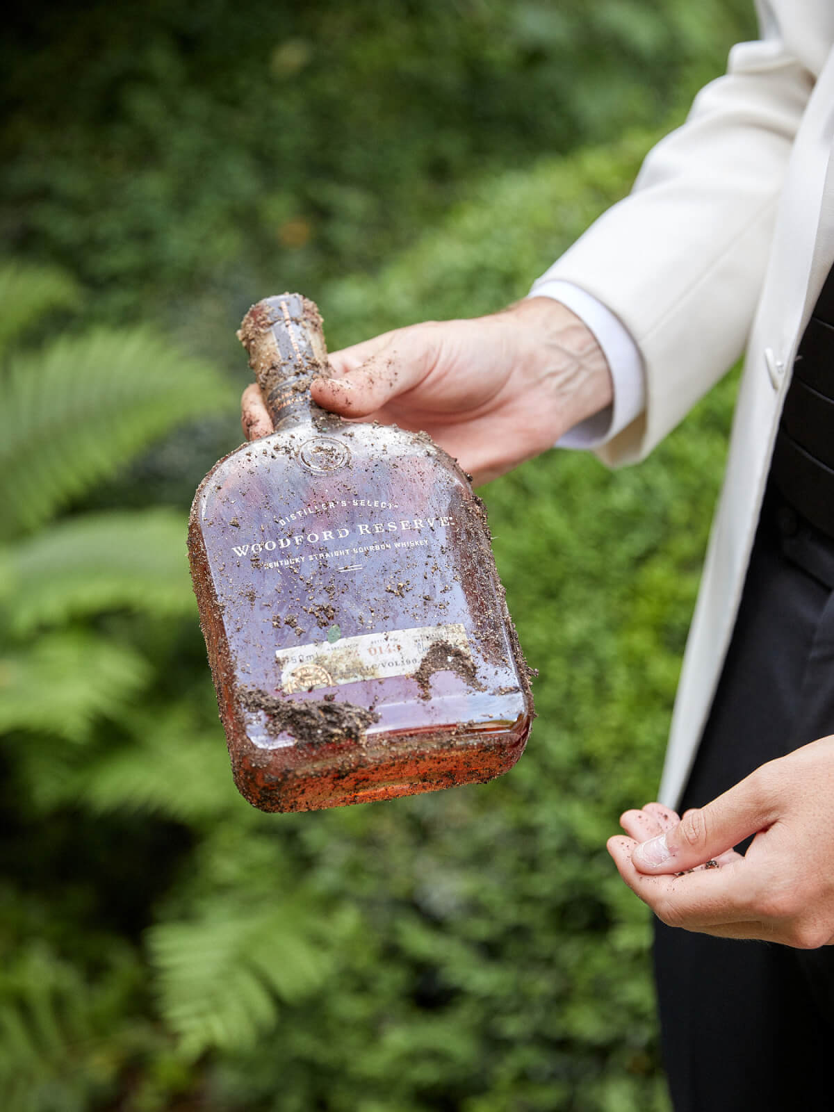 Unburying a bottle of Woodford Reserve