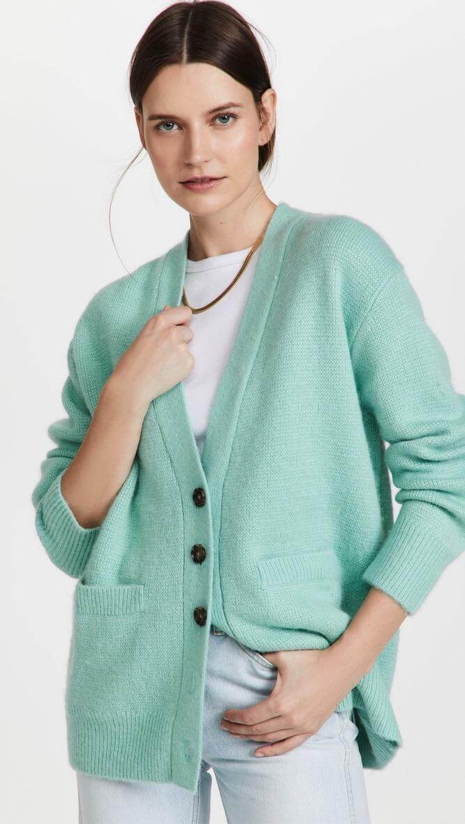 Mint cardigan from RE/DONE, a fall fashion trend