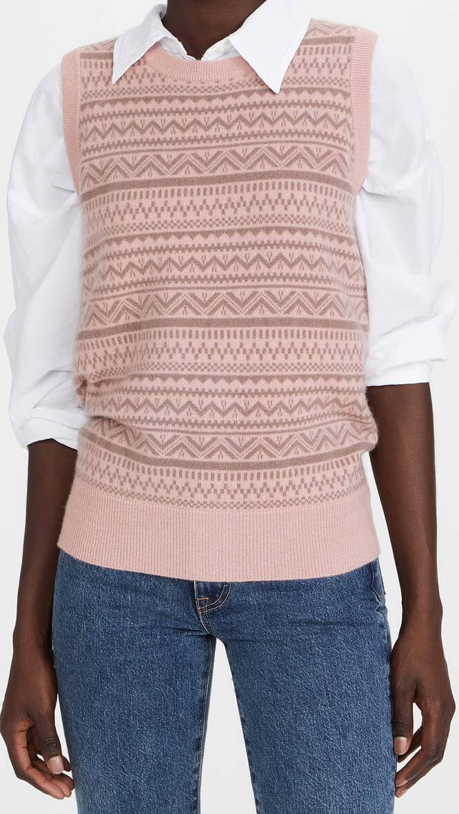Pink sweater vest from Shopbop with tucked-in blouse, a fall fashion trend